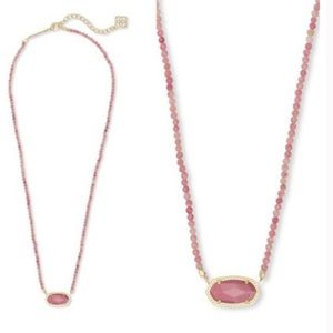 Kendra Scott Elisa Beaded Necklace Pink Rhodonite
